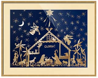 Fine Art Prints for Sale: Straw Christmas Creche with Gloria on Blue Velvet by Ursula Astras (1996) - Framed. © ladyofwheat.com © ursulaastras.imagekind.com